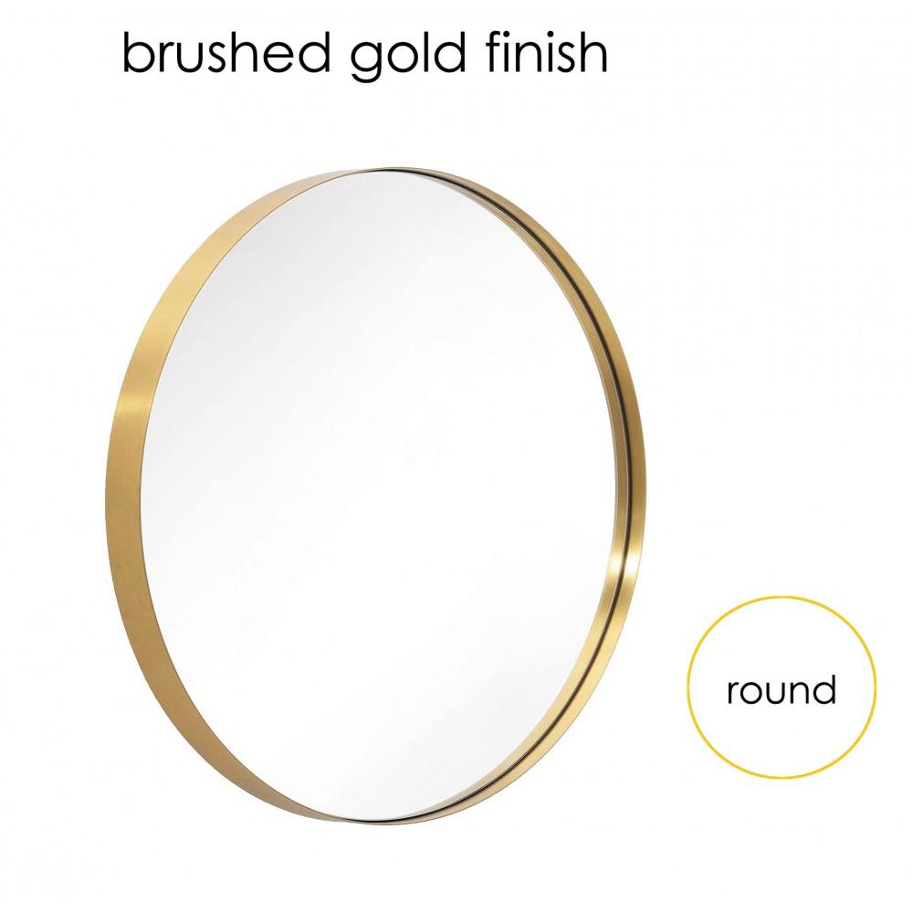 "MR315GD 31.5"" Round Bath Mirror Brushed Gold Finish"