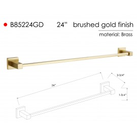 B85224GD Bathroom Wall Mount Gold Towel Bar Towel Rail Holder, ALL SOLID BRASS MADE Gold Brushed Finish.