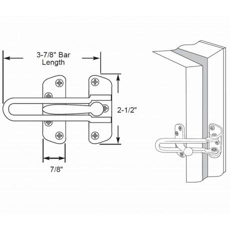 """D5001/105BSC Heavy Duty Door Security Door Guard Swing Bar Lock 4-1/8"""" inch SC Satin Chrome Finish solid zinc diecasted Decorative Door Hardware Builders Hardware quick install Home Hardware Home Decor"""