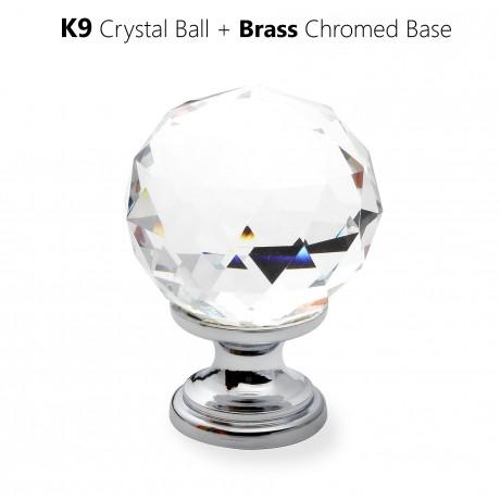 N1116/35CP Clear Crystal Knob Big Bright Chrome Polished Base Furniture Knob Drawer Cabinet Pull knob Italy Design Hardware Decorative